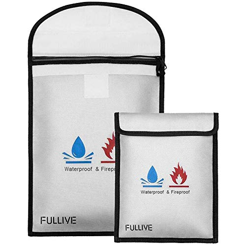 Fireproof Document Bag - 15'X11' Fireproof Safe Bag, 7'x9' Money Pouch Envelope, Non-Itchy Silicone Coated File Storage, Waterproof Document Holder, Money Bag with Zipper
