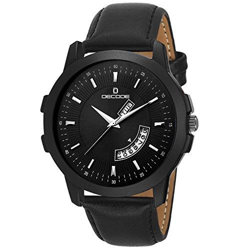 Decode Matrix Analogue Men's Watch (Black Dial Black Colored Strap)