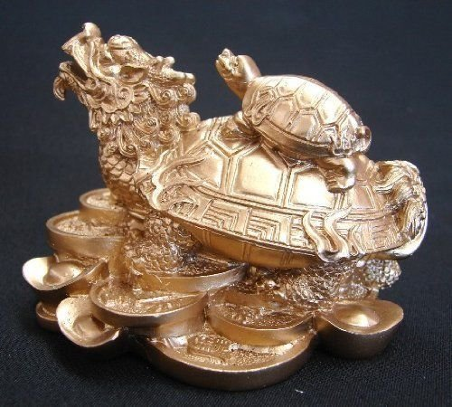Symbolize Coin Gold - Monkey King TM Feng Shui Dragon Turtle Tortoise Statue Figurine Standing on a bed of Coins and Gold Ingots Lucky Wealth (GOLD)