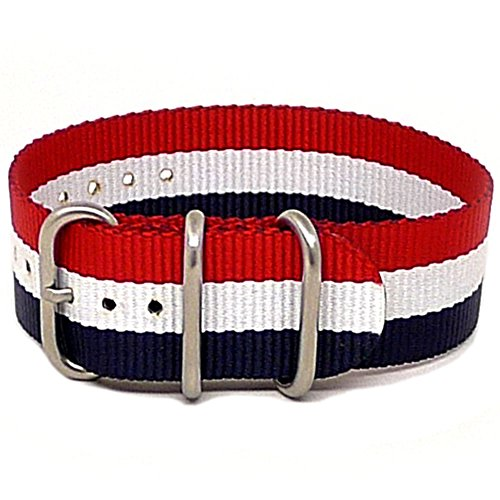 DaLuca Ballistic Nylon NATO 1 Piece Watch Strap - Red-White-Blue (Matte Buckle) : 20mm