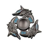 heytech Metal Fidget Spinner Hand Spinners Fidget Toy EDC Hand Spinner Ultra Durable Zinc Alloy Made Triple Wings (Black Fox)