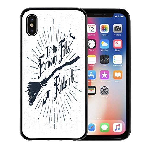 Semtomn Phone Case for Apple iPhone Xs case,Broomstick Halloween Label Witch Broom and If The Fits Ride It Lettering Hipster for iPhone X Case,Rubber Border Protective Case,Black
