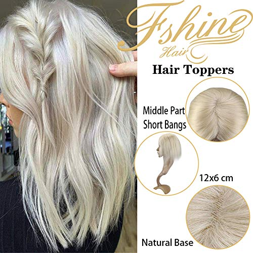Fshine Mono Topper Hairpieces Human Hair, Hidden Crown Hair Extensions, 10 Inch Short Wiglets Hair Pieces for Women With Thinning Hair, Invisible Blonde Crown Hair Toppers 12X6cm