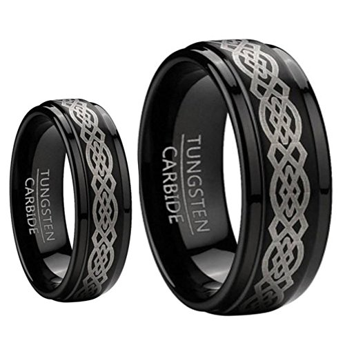 9MM/7MM Mens and Ladies Step Edge Black Enamel Celtic Knot design Center Tungsten Carbide Wedding Band Ring ()