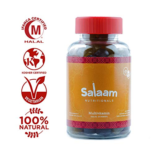 Salaam Nutritionals Halal Adult Gummy Multivitamins – 11 Essential Vitamins and Minerals with Antioxidants – Kosher, Vegetarian, Non-GMO, Gluten, Dairy, Nut Free (90 Count)