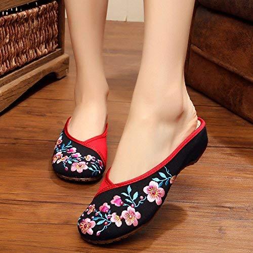Bestickte Schuhe Schuhe Schuhe Sehnensohle ethnischer Stil weiblicher Flip Flop Mode bequem Sandalen Schwarz 40 (Farbe   - Größe   -) aa3440