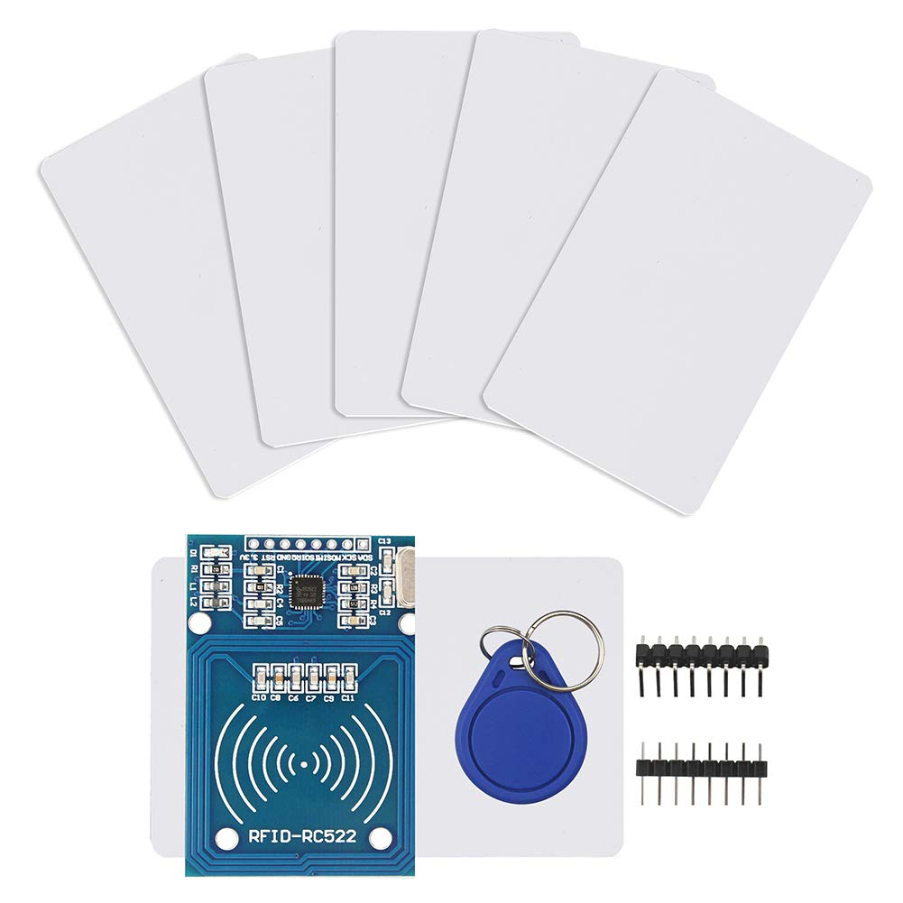 IZOKEE RFID Kit - RC522 RF IC Reader Sensor Module with 5pcs Additional S50 Key Card as Gift and RFID Chip Key Ring for Arduino and Raspberry Pi