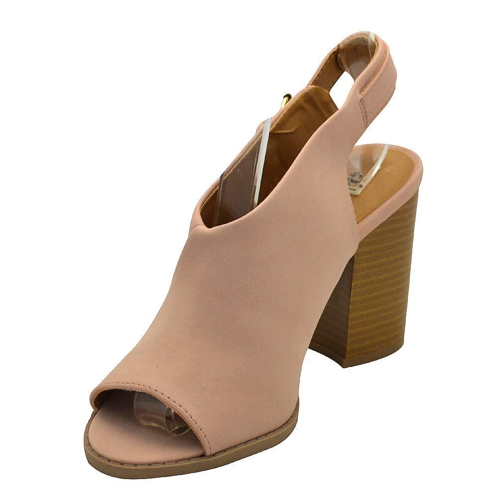 9afb9b868c6 Qupid Brammer-12 Womens Slingback Mule Sandal Blush Nu Size 5.5   Amazon.co.uk  Shoes   Bags