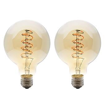 2X E27 Bombilla Estilo Vintage 4W Dimmable LED Filamento G95 Bombillas Globo Blanco Cálido 2200K LED