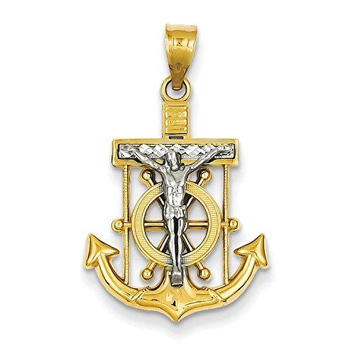 14K Two-Tone Gold Mariner's Crucifix Cross Charm Pendant