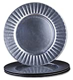 Sunburst Design 13-Inch Round Plastic Charger Plates by bogo Brands (Silver Set of 50)