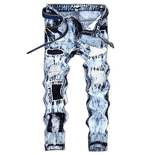 Pantalon Wash Travail Patchwork Bleu Vintage Denim Homme Plis Jean Xmiral Effilochée 1dqSOpn41