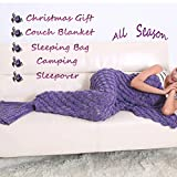 Feiuruhf Handmade Mermaid Tail Blanket Soft Sofa Blanket (purple)