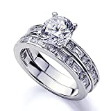 Platinum Plated Sterling Silver 2 cttw Center Round CZ Baguette Channel Matching Ring Set ( Size 5 to 9 ), 5