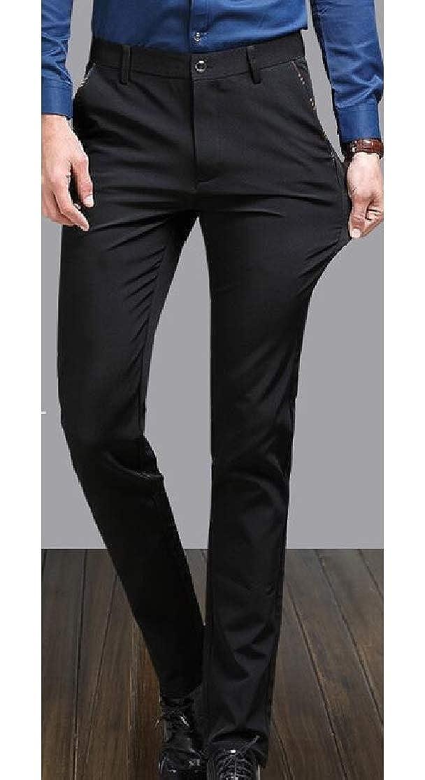 Macondoo Mens Business Zip Up Stretch Classic High Waist Pocket Buttons Straight Pants