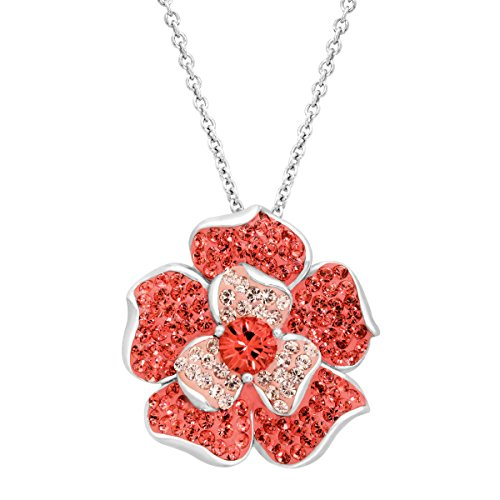 (Crystaluxe Flower Pendant with Coral & Vintage Rose Swarovski Crystals in Sterling Silver, 18