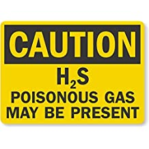 Iliogine Yard Fence Garage Decoration Sign Legend Caution H2S Poisonous Gas May Be Present Black on Yellow Safety Sign Metal Pet Sign Gift 14 x 10