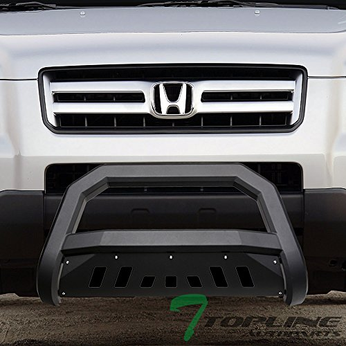 Topline Autopart Matte Black AVT Style Bull Bar Brush Push Front Bumper Grill Grille Guard With Skid Plate For 03-08 Honda Pilot ; 06-14 Ridgelin