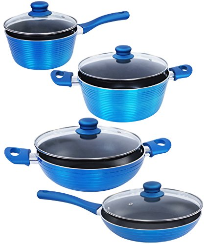Nirlon Aluminium Cookware Set, 4-Pieces, Blue (Forged_FP24KD24SP18CS20)