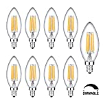 9 Pack 6W LED Candle Bulbs,WONFAST C35 Torpedo Shape Bullet Vintage Edison Dimmable LED Filament Light Bulbs,2700K Warm White,60W Incandescent Equivalent [Energy Class A++]