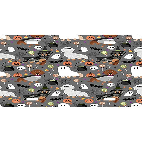 License Plate Covers Dachshund Dog Breed Halloween Dog Costume Doxie Dachsie Pattern Novelty Auto Car Tag Vanity Gift 4 Holes (12 X 6 inches)]()
