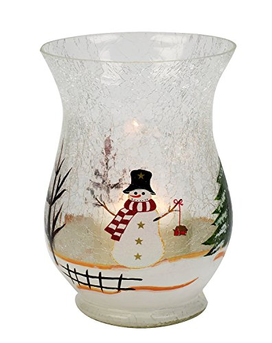 Biedermann & Sons Glass Hurricane Candle Holder, Snowman]()