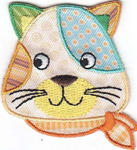 (CAT -CALICO CAT w/SCARF- CATS, PETS, KITTENS/Iron On Embroidered Applique Patch)