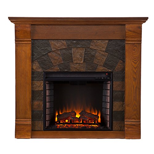 - Southern Enterprises Elkmont Electric Fireplace, Salem Antique Oak Finish with Dark Earth Tone Tiles