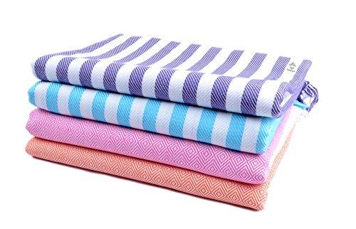 Sathiyas 480 GSM 4 Piece Bath Cotton Towel (Blue, Lavender, Pink, Orange 75 cm X 150 cm)
