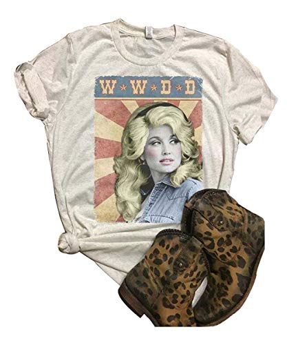 GEMLON Women Spring Summer T-Shirt Dolly Parton Funny Graphic Tops Tee (XL, White2)