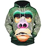 Litetao Men Fall Winter Orangutan Printed Long Sleeve Hoodies Sweatshirt Top Blouse