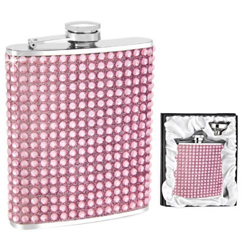 Pink Crystal Flask in Gift Box w/Funnel