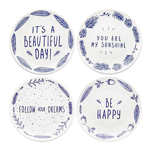 Ceramic Dessert Salad Plates with Sayings (Set of 4) Dishwasher and Microwave Safe, Best Gift, Multicolor ()