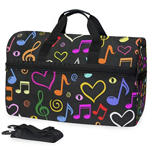 Music Note And Hearts Gym Bags for Men&Women Duffel Bag Overnight Yoga Bag with Shoe Compartment