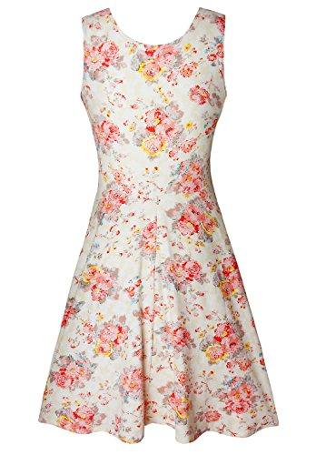 Mini sans Coupe Robe Vintage Femme Fleur D't Beige Manche Simple pour OUX8wgO0xq