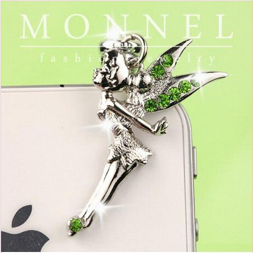 New Cell Phone Charm - IP167-B New Green Crystal Tinkerbell Fairy Anti Dust Plug Cover Charm for Iphone Android 3.5mm