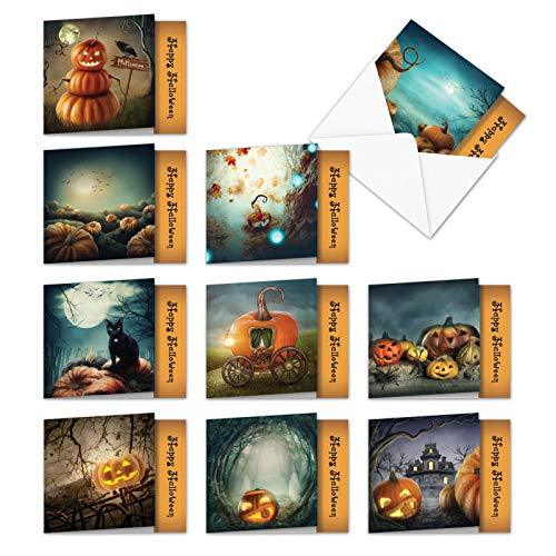 MQ4962HWG-B1x10 Spooky Pumpkins: 10 Assorted Set of 'Square-Top' Cards Featuring Spooky Images of Jack-O-Lanterns, with Envelopes (1 each of 10 Designs, 4 x 5.12 inch)]()