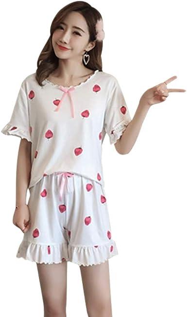 LONMEI Mujer Suelto Pijamas - Verano Corto 2 Piezas Manga ...