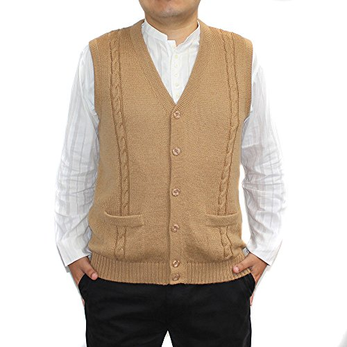 V-neck Wool Blend Cardigan (CELITAS DESIGN Alpaca Vest Sweater Jersey with BRIAD V neck buttons and Pockets made in Peru Camel S)