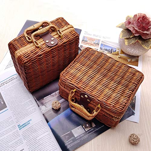 Gold Happy Wicker Baskets Rattan Suitcase Box Woven Storage Basket Makeup Bin Bamboo Picnic Basket Food Storage Boxes for Travel