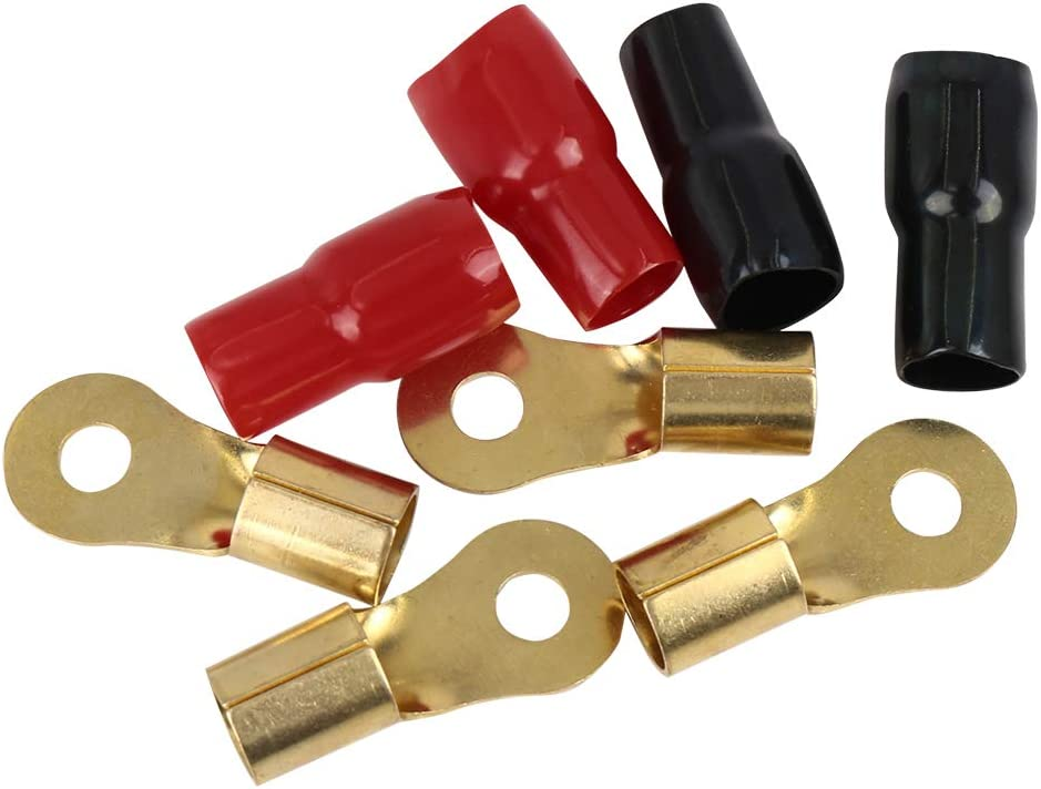 X AUTOHAUX 2 Positive and 2 Negative 1//0 Gauge AWG Crimp Ring Terminals Connectors Fitting Kit for Car Audio Cable Wring Brass Insulation PVC Red and Black