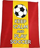 ''Keep Calm and Play Soccer'' - Soccer Fanatics' Plush Blanket (Spain)