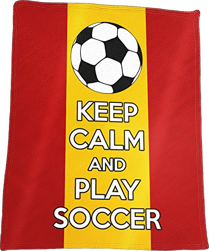 ''Keep Calm and Play Soccer'' - Soccer Fanatics' Plush Blanket (Spain) by PersonalThrows