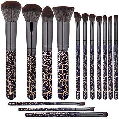 H.Y.BBYH Pincel de Maquillaje práctico 14 Piezas de Pinceles de Maquillaje Kabuki de Primera Calidad con Estuche para Viaje de Corte de Ojos en la Cara Incluido Maquillajes: Amazon.es: Hogar