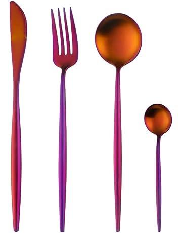 4 Piezas Cuberteria Acero Inoxidable Cubiertos Cuchillo Tenedor Cuchara Vajilla