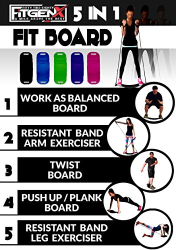 5 In 1 Wobble Balance Board WITH WORKOUT BANDS by 5280 FITGENX, Fit Board Gets You Simply Fit by Toning Abs Legs Core Arms Total Body, Improve Balance, Fitness With a Twist, As Seen on TV, NEW, black