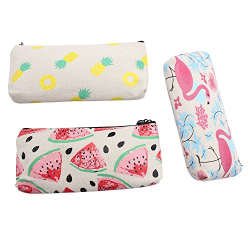 Cute Fruit and Flamingo Canvas Pencil Bag Holder Pen Case Stationery Makeup Cosmetic Pouch Bag with Zipper, Set of 3