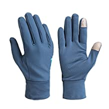 Ezyoutdoor Unisex Lycra Full Finger Outdoor Touch Screen Cycling Gloves with Shock-absorbing Gel Pad Breathable Touchscreen Bike Gloves (Blue, Small)