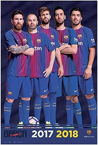 91x61cm Erik/® Poster FC Barcelone 2017//2018 Groupe 5 joueurs Papier Glac/é