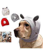 Quiet Ears for Dogs, Dog Hood for Anxiety Relief & Calming, Cute Knitted Dog Hats with Ears for Medium to Large Dogs, Neck and Ear Warmer Hood for Pets (Grey)
